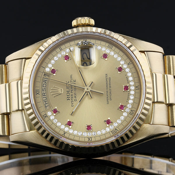 Rolex Day-Date 18238 - 1990 - Rolex Factory Myriad Diamond And Ruby  Dial - Box And Papers