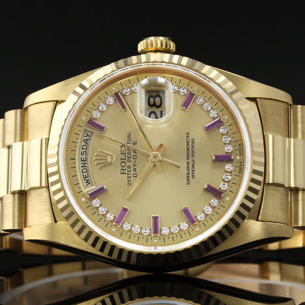 RARE Rolex Day-Date 18238 - 1993 - Rolex Factory MYRIAD Diamond And Ruby Dial - Box And Papers