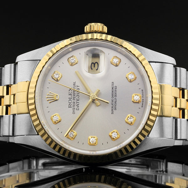Rolex Datejust 16233 - 2000 - Grey Rolex Factory Fitted Diamond Dot Dial