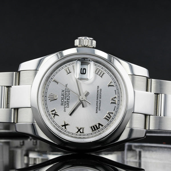 Ladies Rolex Datejust - 179160 - Silver Roman Numeral Dial-  2007 - 26mm