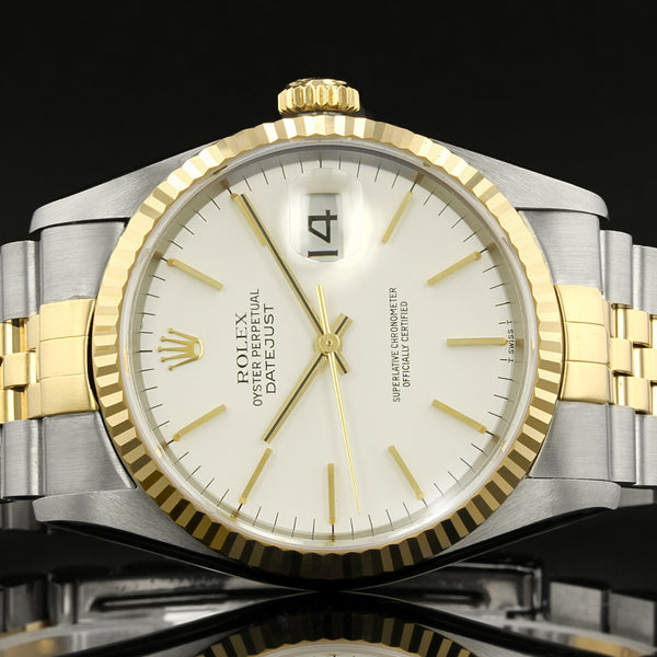 Rolex Datejust 16233 - 1997 -  White Baton Dial - Box And Papers