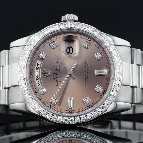 Rolex President Day-Date - 118209 -18K White Gold - Factory Salmon  Diamond Dial With After Set 2.2CT VS Quality Diamond Bezel - 2002