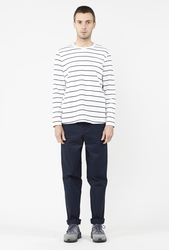 MIST MENS LS TOP WHITE STRIPE