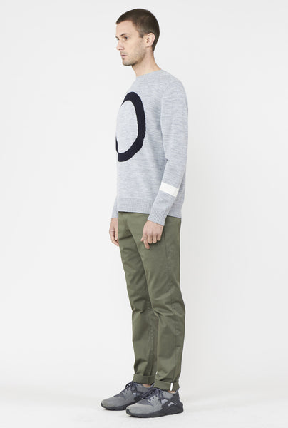 CLEAR MENS CREW KNIT GREY MELANGE