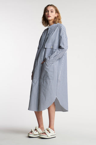 Pier Stripe Shirt Dress Mid Stripe Ink