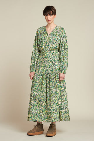 Inflation Maxi Dress Blue / Green Floral