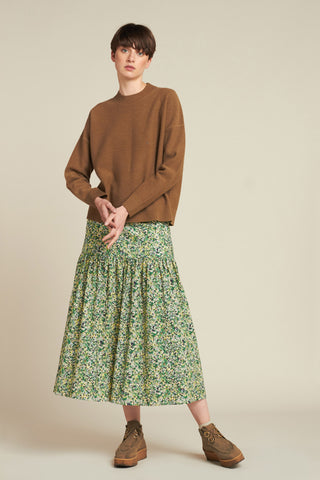 Cosmic Floral Skirt Blue / Green Floral