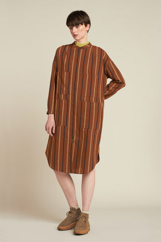 Pier Stripe Dress Rust Stripe