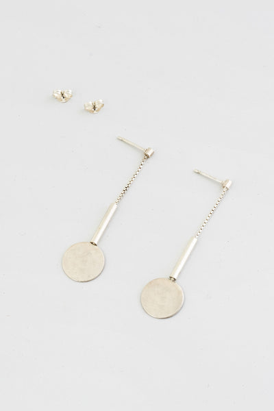 MLD Drop Circle Chain Earrings Silver