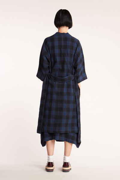 Cover Check Dress Blue with Black Check