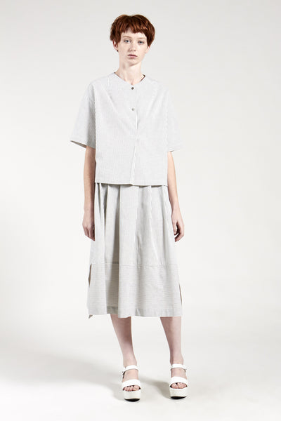 Infinite Skirt Off White Charcoal Stripe