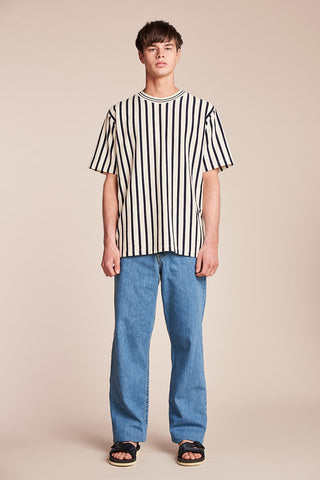 Basal Stripe Tee Ink/Ecru
