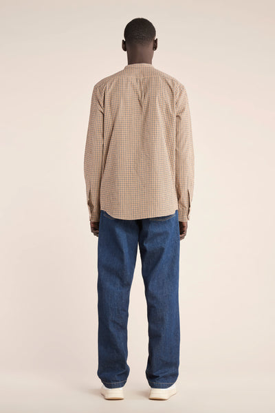 Thermal Band Collar Shirt Sand Plaid