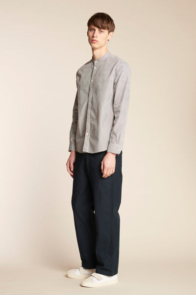 Thermal Band Collar Shirt Thin Stripe Ink
