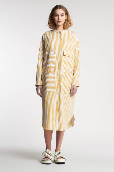Pier Stripe Shirt Dress Mid Stripe Ochre