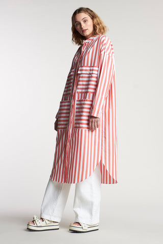 Pier Stripe Shirt Dress Thick Stripe Pale Grenadine