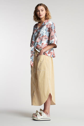 Bowed Stripe Skirt Mid Stripe Ochre