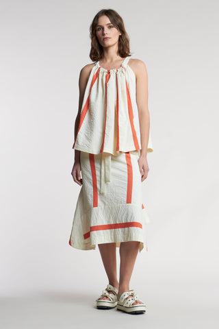 Zeal Panel Skirt Focus Stripe Ecru/Pale Grenadine