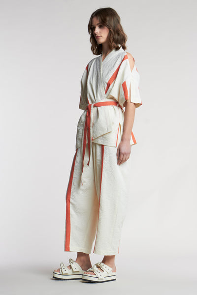 Dreamer Wrap Top Focus Stripe Ecru/Pale Grenadine