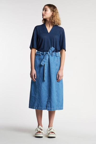 Haze Denim Skirt Mid-Wash Indigo Denim