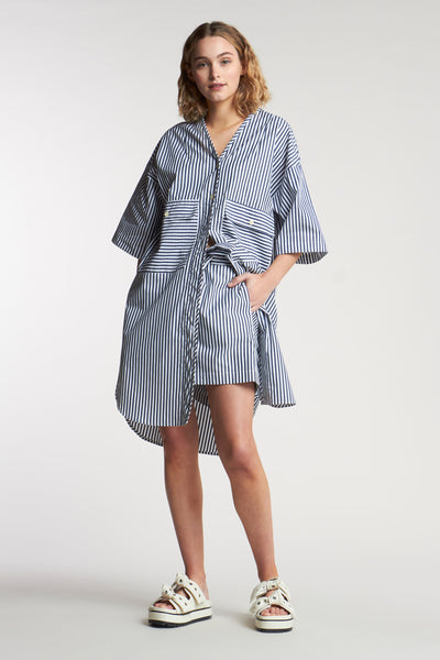 Fog Pocket Dress Mid Stripe Ink