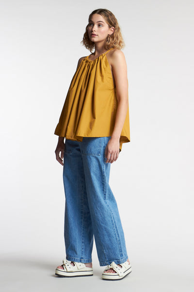 Daze Gathered Top Ochre