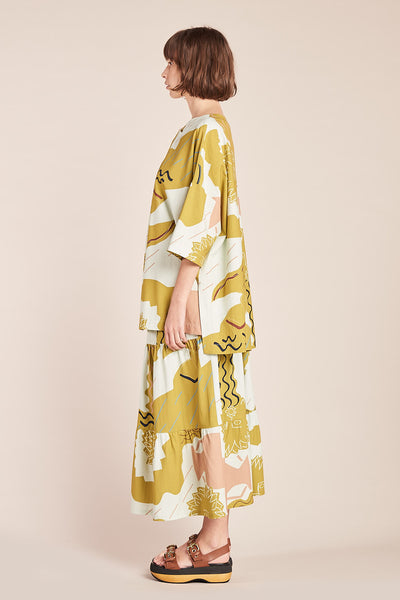 Waver Skirt Ochre Print