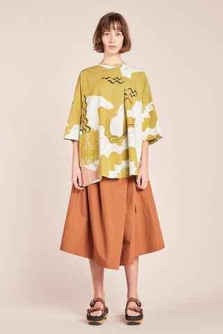 Fontain Tunic Top Ochre Print