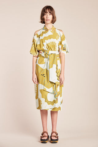 Ephemera Wrap Dress Ochre