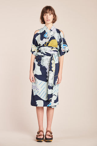 Ephemera Wrap Dress Ink