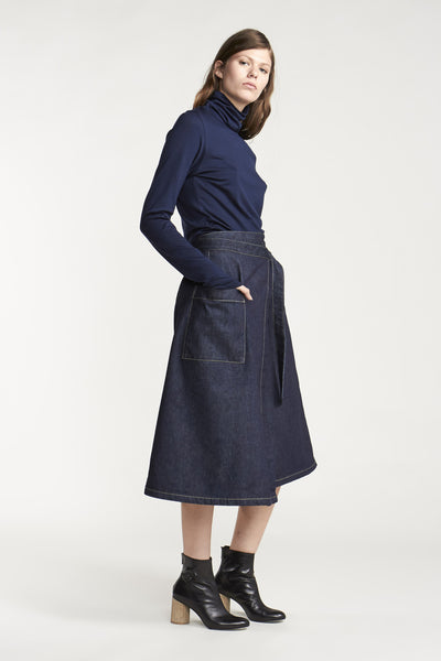 Outset Wrap Skirt Indigo Denim
