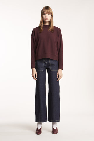 Beyond Oversized Mock Neck Top Wine