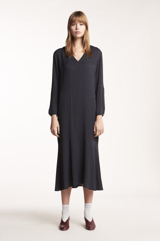 Cosmos Long V Neck Dress Charcoal