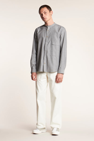 Secure Band Collar Shirt Grey Melange