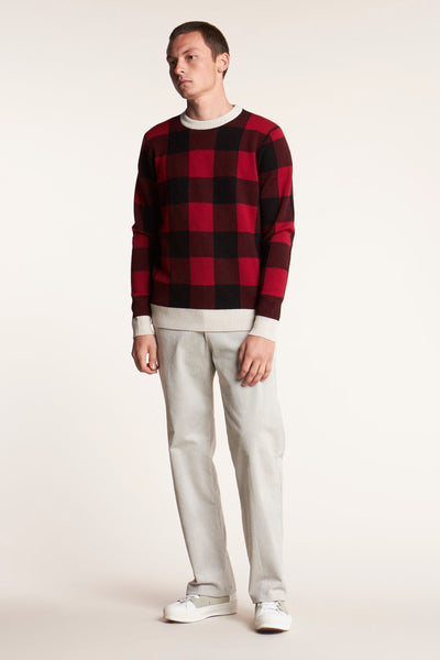 Unity Check Knit Sweat Red Black Check