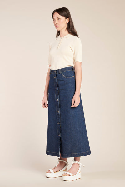Assure Button Down Skirt Indigo Denim