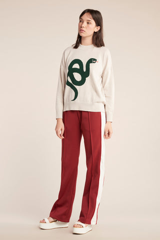 Snake Knit Ecru with Moss