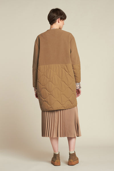 Suspended Quilted Coat Tan