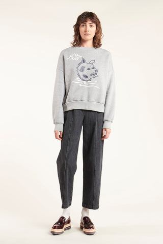 Top Dog Print Sweat Grey Marle