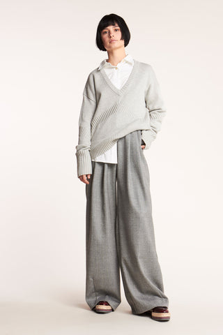 Tier V-Neck Sweater Grey Melange