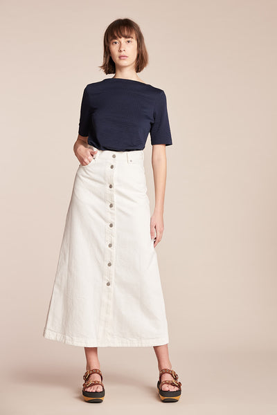 Assure Button Down Skirt White Denim