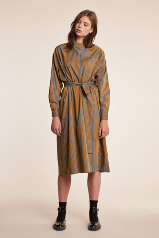 Stargaze Dress Ticking Stripe Tobacco/Ink