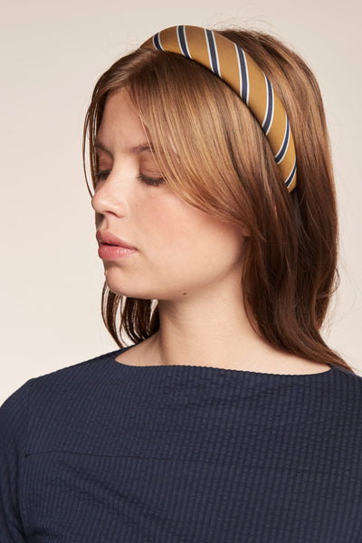 Hi Vista Headband Ticking Stripe Tobacco/Ink