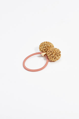 Rock Formation Hair Tie Small Gold Taupe Band