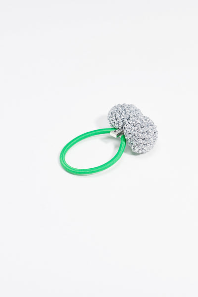 Rock Formation Hair Tie Small Silver Green Band