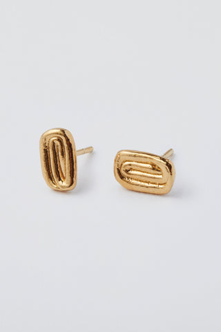 Draa Studs Yellow Gold Pate