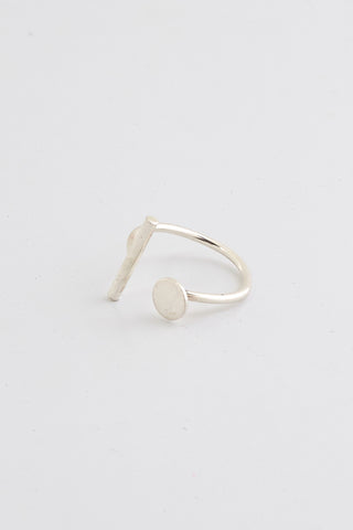 MLD Bar and Circle Ring Small Silver