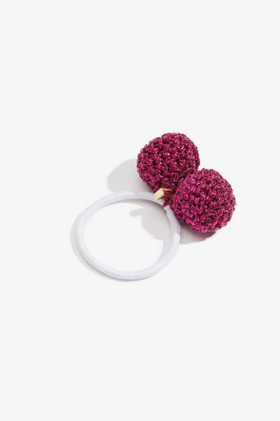 Rock Formation Hair Tie Small Fuchsia & White