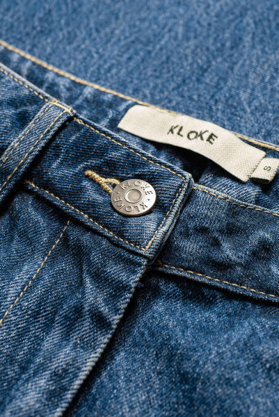 Ilk Zip Denim Pant Mid-Wash Indigo Denim