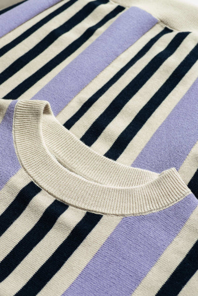 Channel Stripe Knit Sweater Lilac/Ink Ticking Stripe